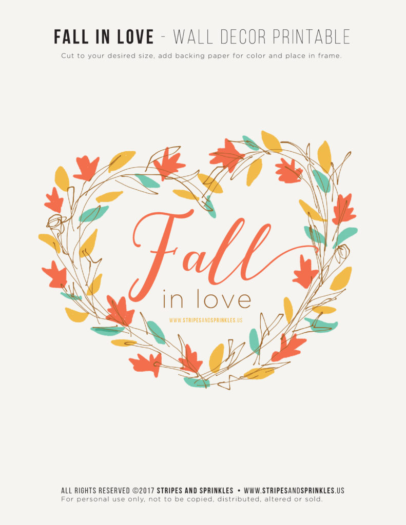 preview photo of the fall in love printable