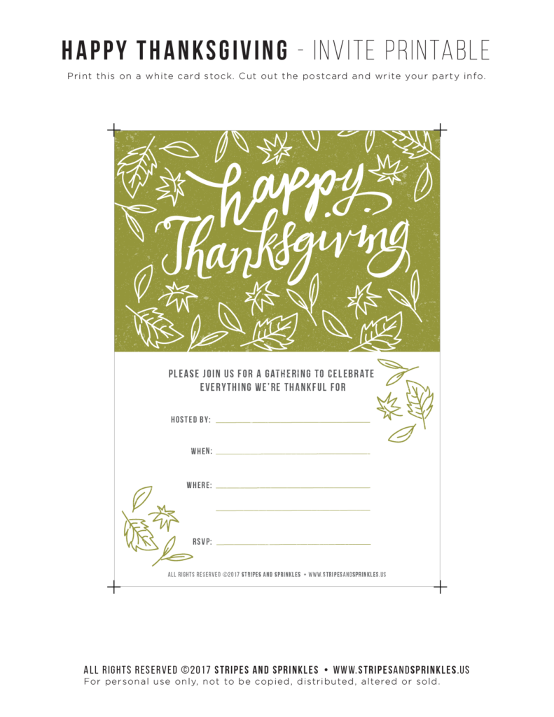 free thanksgiving invitaiton