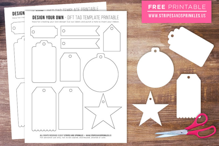 Free Gift Tag Template Printable Stripes Sprinkles
